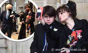 Helena Bonham Carter playfully poses with her son Billy at International Nurses Day service - Daily Mail