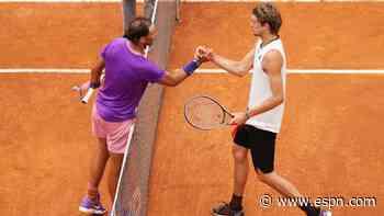 Nadal snaps 3-match losing skid vs. Zverev