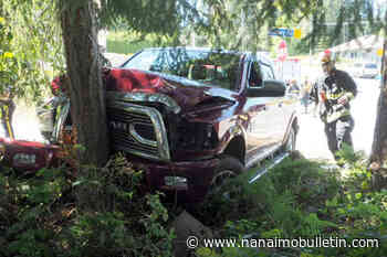 Driver taken to hospital after crashing truck into tree on Rutherford hill in Nanaimo