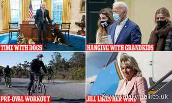 Joe Biden's day has pre-Oval workouts, time with grandkids and dogs and dinner with Jill