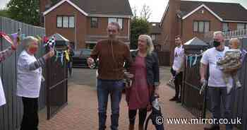 Heartwarming moment man is reunited with his family after 124-day Covid battle