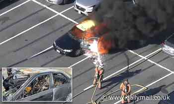 Maryland driver's car is consumed by fire after driver decided to sanitize hands while smoking