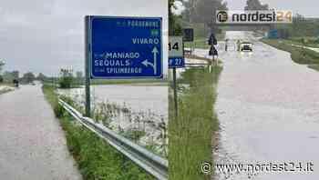 Bomba d'acqua nel Pordenonese allaga la strada: chiusa la SP27 - Nordest24.it