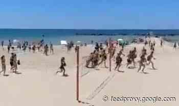 Israel-Palestine horror: Beachgoers run for their lives on Tel Aviv beach as sirens ring