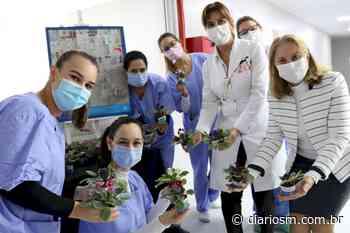 Colégio Marista Santa Maria entrega obras de arte e flores a funcionários do Husm - Diário de Santa Maria