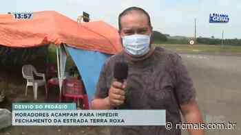 Moradores acampam para impedir fechamento da estrada Terra Roxa; trecho é rota de desvio do pedágio - RIC Mais