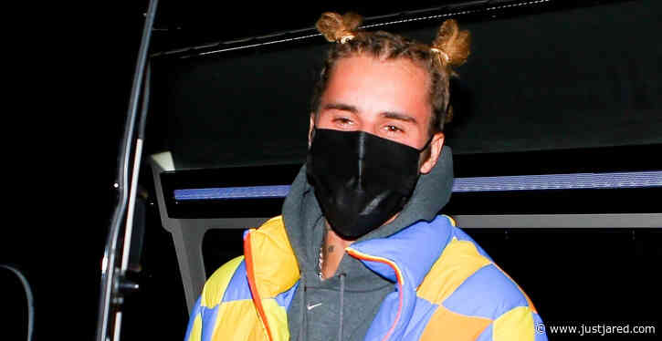 Justin Bieber Wears His Hair Up in Top Knots While Grabbing Dinner with Friends
