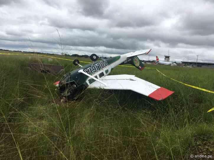 Ucayali: avioneta de la Policía cae en Pucallpa y tripulantes salvan la vida - Agencia Andina