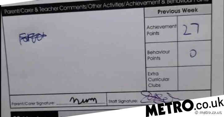 Woman rumbles son's attempt to forge signature after he signs homework diary with 'mum'
