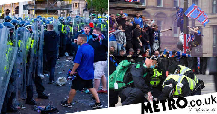 Three officers injured and 20 people arrested as Rangers celebrations turn ugly