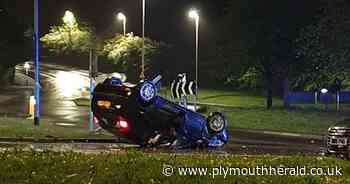 Car flips onto its roof on busy Plymouth roundabout - Plymouth Live