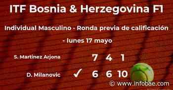El tenista Samuel Martinez Arjona, eliminado del torneo ITF Bosnia & Herzegovina F1 - infobae