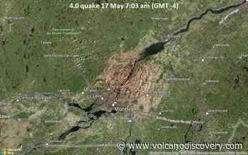 Moderate tremor of magnitude 4.0 just reported 8 miles northeast of Repentigny, Quebec, Canada - VolcanoDiscovery
