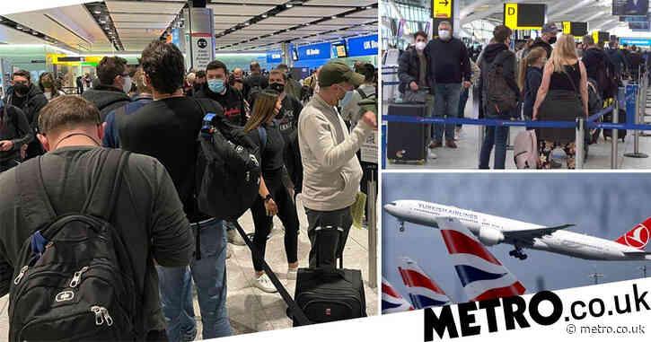 Heathrow queues branded 'like a petri dish' as international travel resumes