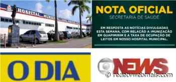 """Prefeitura de Guapimirim critica publicações do jornal """"O Dia"""" e da """"GloboNews"""" relativas a vacinação e ocupação dos leitos - Rede Tv Mais"""