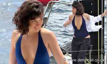 Ana de Armas wows in a blue swimsuit while filming in Mallorca