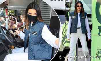 Kendall Jenner celebrates the launch of her 818 tequila at a pop-up truck in LA