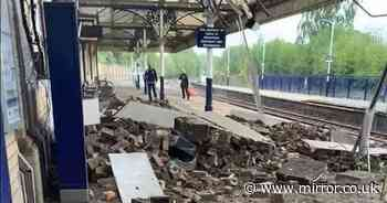 Railway station roof collapses sending shower of debris across platform