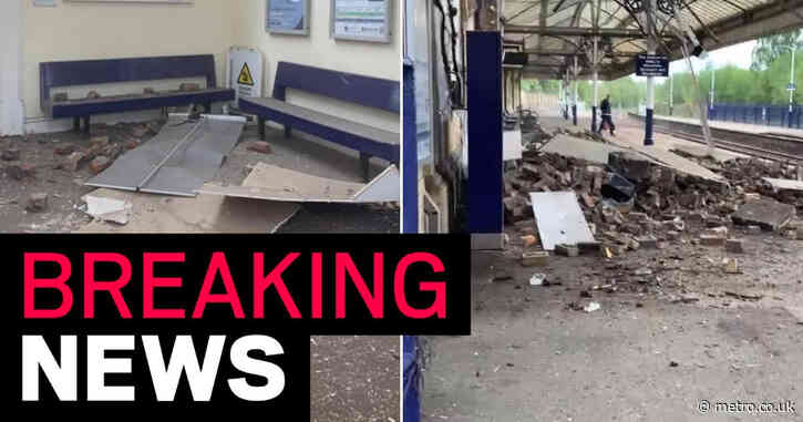 Roof collapses suddenly onto train station platform