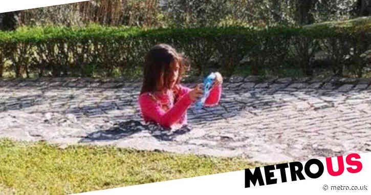 Girl pictured 'stuck in concrete' in bizarre optical illusion