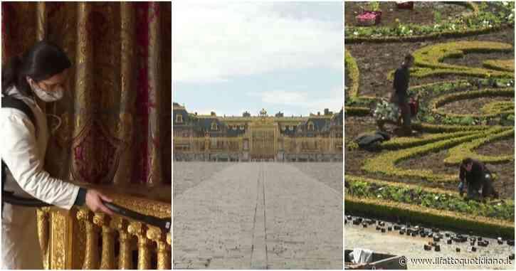 Dal restauro dei marmi alla sistemazione del giardino: la Reggia di Versailles si prepara a riaprire. Le squadre al lavoro – Video