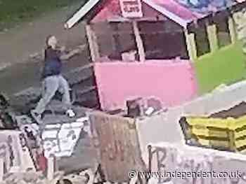 Man caught on camera attacking George Floyd memorial with an axe