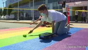 Homophobic slurs painted on rainbow crosswalk at Colwood school - CBC.ca