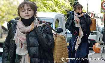 Helena Bonham Carter bundles up in her typically quirky style for a stroll in London - Daily Mail