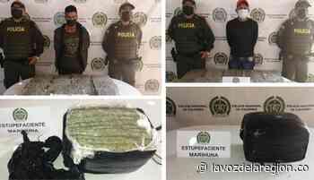 Dos hombres capturados transportando marihuana en Yaguará - Huila