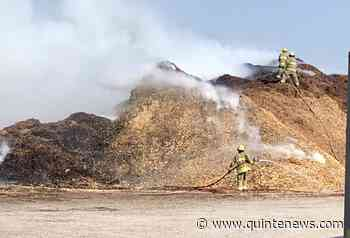Giant piles of mulch on fire on west side of Quinte West - Quinte News