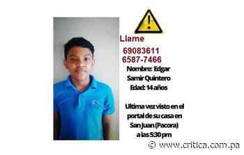 Menor desaparece del portal de su casa en Pacora - Crítica Panamá