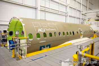 Airbus welcomes first ACJ TwoTwenty section in Mirabel – Aerospace Manufacturing - Aerospace Manufacturing