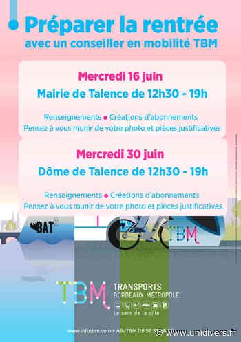 Préparer la rentréeavec un conseiller en mobilité TBM Mairie de Talence mercredi 16 juin 2021 - Unidivers