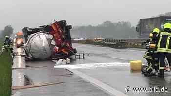 Gescher: Gefahrgut ausgelaufen - A31 nach Unfall mit Tanklaster gesperrt - BILD