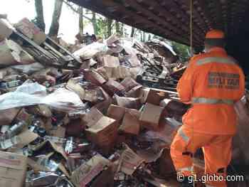 Caminhão carregado com vodca tomba na rodovia entre Wenceslau Braz e Delfim Moreira, MG - G1