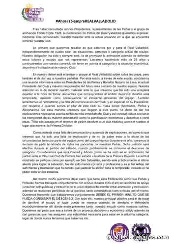 La Federación de Peñas del Real Valladolid solita una reunión informativa a Ronaldo - Pucela Fichajes