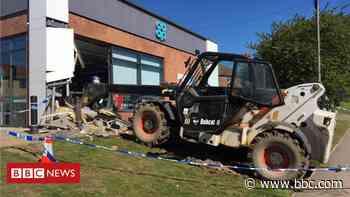 Ancaster: Digger smashes into village shop during raid - BBC News