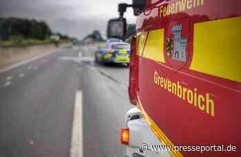 FW Grevenbroich: Kollision von zwei LKW bei Wevelinghoven / Fahrer leicht verletzt - L361 zeitweise voll... - Presseportal.de