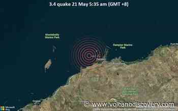 Small tremor of magnitude 3.4 just reported 30 miles northwest of Karratha, Western Australia, Australia - VolcanoDiscovery