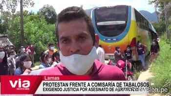Protestan frente a comisaría de Tabalosos exigiendo justicia por asesinato de agricultor - VIA Televisión