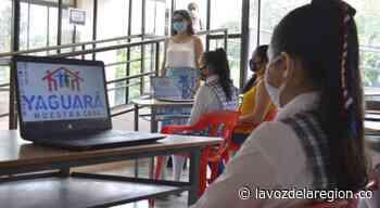 Niños estudiantes de Yaguará recibieron nuevos computadores - Huila