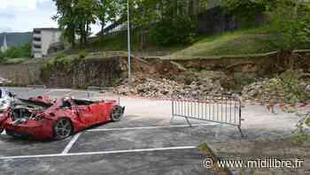 Mende : un mur s'effondre sur plusieurs voitures au parking de la caserne Lamolle - Midi Libre