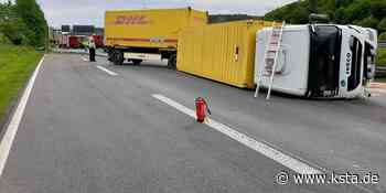 Unfall auf der A3 bei Lohmar: Lkw stürzt um – Vollsperrung in Richtung Köln - Kölner Stadt-Anzeiger