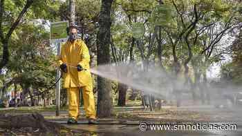 Carapachay: Operativo de desinfección en la Plaza Sarmiento - SMnoticias