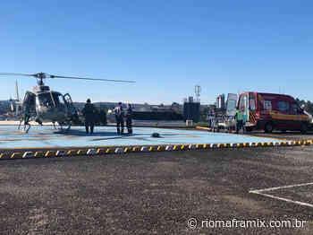 Vítima de infarto de Schroeder é trazida para Mafra pelo helicóptero Águia da PM - Riomafra Mix