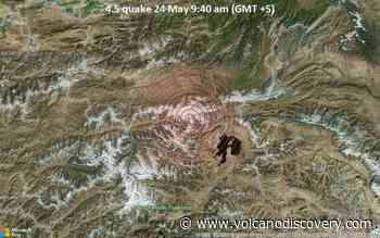 Moderate earthquake of magnitude 4.5 just reported 68 km southeast of Kyzyl-Eshme, Kyrgyzstan - VolcanoDiscovery