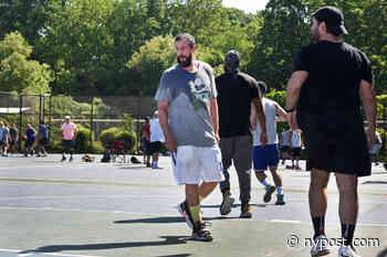 Adam Sandler 'having fun' but takes no shots in Long Island pick-up basketball game - New York Post