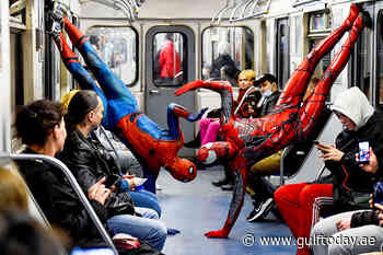 People in the subway of Saint Petersburg witnessed performances by underground dancers dressed as Spiderman - Gulf Today