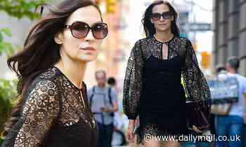 Famke Janssen, 56, shows off her long legs in lacey little black dress and ballet flats in NYC - Daily Mail