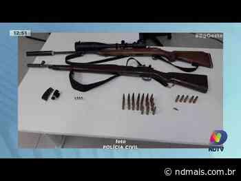 Xaxim: Polícia Civil apreende fuzil, rifle, munição e acessórios para arma de fogo - ND Mais